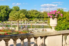 The Luxembourg Gardens in Paris on a beautiful summer day. PARIS,FRANCE-AUGUST 1,2017 : The Luxembourg Gardens in Paris on a beautiful summer day Stock Photography