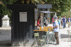 Luxembourg Gardens in Paris. The kiosk used to sell cakes and griddle is located in the center of the Gardens of Luxembourg (Paris). Unfortunately, September 4 Stock Image