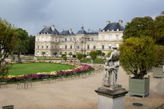 Luxembourg gardens in Paris. Luxembourg palace in Paris gardens Royalty Free Stock Image