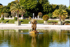 Luxembourg Gardens pond. Color DSLR image of pond in Luxembourg Gardens, a popular Paris, Left Bank tourist attraction. Horizontal with copy space for text Stock Photo