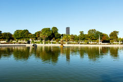 Luxembourg Gardens. Wide angle view of pond in Luxembourg Gardens, Paris, France, with the Montparnesse Tower in the background. Horizontal with copy space for Stock Photo