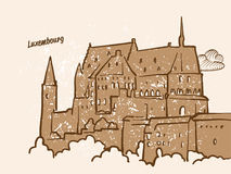 Luxembourg, Greeting Card. Hand drawn image, famous european capital, vintage style, vector Illustration Stock Image