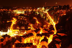 Luxembourg Grund at night. Aerial view of Luxembourg lower part called Grund. Photo taken in night of autumn on a clear sky royalty free stock photography