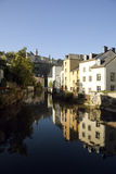 Luxembourg Grund quarter and river Alzette Stock Photography