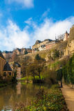 Luxembourg hill. And river at extremely warm winter Royalty Free Stock Photo