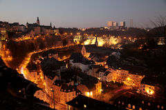Luxembourg. Historic center, old town night scene Stock Photography
