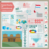 Luxembourg infographics, statistical data, sights. Royalty Free Stock Photo