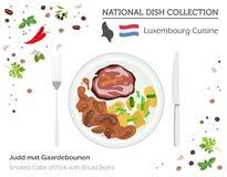 Luxembourg kokkonst Europeisk nationell maträttsamling Rökt Co stock illustrationer
