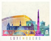 Luxembourg landmarks watercolor poster. Colorful Royalty Free Stock Photo