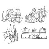 Luxembourg Luxembourg Famous Buildings. Monochrome Outlined Travel Landmarks, Scalable Vector Illustration Stock Image