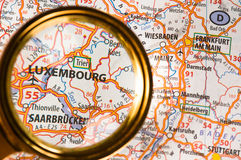 Luxembourg on a map. Closer-up royalty free stock images