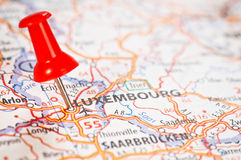Luxembourg on a map Stock Photography