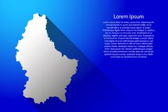 Luxembourg map of Australia with long gradient shadow on blue background vector illustration Stock Images
