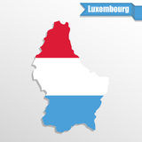 Luxembourg map with flag inside and ribbon Stock Photography