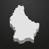 Luxembourg map in gray on a black background 3d Stock Photography