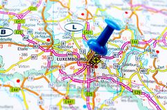 Luxembourg on map. With push pin stock photo