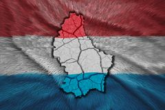 Luxembourg Map. Map of Luxembourg in National flag colors Stock Photography