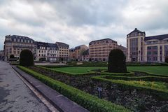 View to the Place Des Martyrs. It is a garden square in Luxembourg City. Luxembourg, Luxembourg-MAY 01, 2018:View to the Place Des Martyrs. It is a garden royalty free stock photo