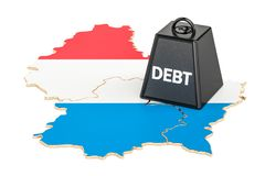 Luxembourg national debt or budget deficit, financial crisis con. Cept, 3D Stock Photo