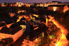 Luxembourg by night. Luxembourg - Grund by night. In the backbround - Sofitel Stock Photography