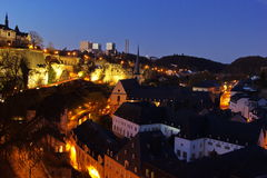 Luxembourg at night - Grund Stock Photo