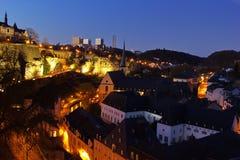 Luxembourg at night - Grund Stock Photo