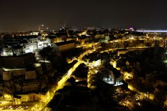 Luxembourg old city centre at night, panoramic view royalty free stock photography