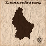 Luxembourg old map with grunge and crumpled paper. Vector illustration Stock Photo