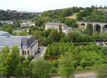 Luxembourg Old Town with Beautiful Park and the 24 Arches Viaduct, Luxembourg City Royalty Free Stock Photo