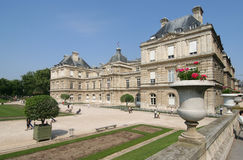 Luxembourg Palace. And garden in Paris royalty free stock image