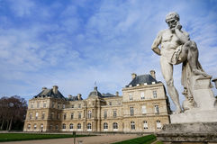 Luxembourg Palace with adorable statue and blue sky, Paris France. stock photos