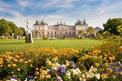 Luxembourg Palace with flowers royalty free stock image