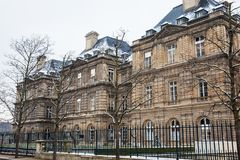 Luxembourg Palace in a freezing winter day day just before spring. The Luxembourg Palace in a freezing winter day day just before spring stock images