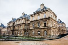 Luxembourg Palace in a freezing winter day just before spring. The Luxembourg Palace in a freezing winter day just before spring royalty free stock images