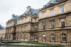 Luxembourg Palace in a freezing winter day just before spring. The Luxembourg Palace in a freezing winter day just before spring royalty free stock image