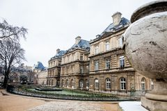 Luxembourg Palace in a freezing winter day just before spring. The Luxembourg Palace in a freezing winter day just before spring stock images