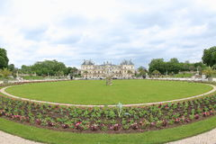Luxembourg Palace Garden, Paris. Luxembourg Palace (Palais du Luxembourg) Garden with flower buds and green grass in spring, Paris, France royalty free stock image