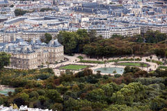 Luxembourg Palace and Gardens. As seen from the Montparnasse Tower.  Paris, France Stock Photo