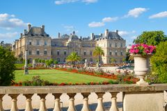 The Luxembourg Palace and gardens in Paris. The Luxembourg Palace and gardens on a beautiful summer day in Paris Royalty Free Stock Photos