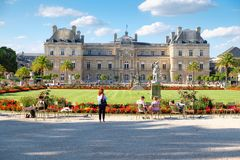 The Luxembourg Palace and gardens in Paris. PARIS,FRANCE - AUGUST 1,2017 : The Luxembourg Palace and gardens on a beautiful summer day in Paris Stock Photography