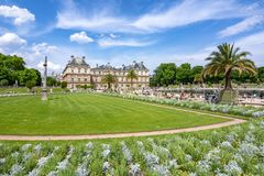 Luxembourg palace and gardens in Paris, France royalty free stock photo