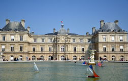 Luxembourg Palace and lake, Paris France Royalty Free Stock Image