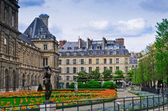 Luxembourg Palace and Park. The Jardin du Luxembourg is the largest public park located in the 6th arrondissement of Paris, France. The park is the garden of the stock photo