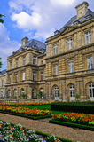 Luxembourg Palace and Park. The Jardin du Luxembourg is the largest public park  located in the 6th arrondissement of Paris, France. The park is the garden of Royalty Free Stock Photo