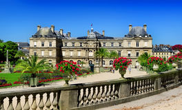 Luxembourg Palace and park. Luxembourg Palace and beautiful park in summer, Paris royalty free stock photos