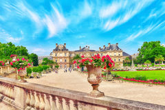 Luxembourg Palace and park in Paris . Royalty Free Stock Image