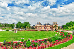 Luxembourg Palace and park . PARIS, FRANCE - JULY 08, 2016 : Luxembourg Palace and park in Paris, the Jardin du Luxembourg, one of the most beautiful gardens in stock photography