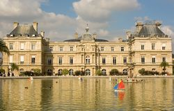 Luxembourg palace with toy boats Royalty Free Stock Image