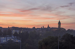 Luxembourg panorama at sunset. Luxembourg City, Luxembourg Stock Image