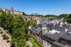 Luxembourg Panorama. View over Luxembourg, the old part called Grund. In teh distance the few skyscrapers from Kirchberg Stock Photo